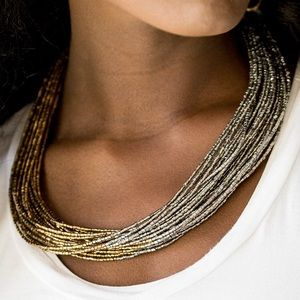 Jewelry - Gold and silver seed bead necklace. NWT.